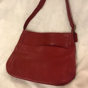 Red leather coach over the shoulder bag